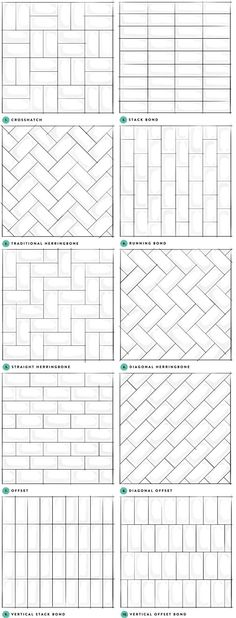 Subway Tile Designs Inspiration - A Beautiful Mess Subw. Subway Tile Designs Inspiration – A Beautiful Mess Subway Tile Designs I Tile Layout Patterns, Shower Tile Patterns, Subway Tile Patterns, Bathroom Tile Designs, Brick Patterns, Bathroom Floor Tiles, Pattern Ideas, Wall Tiles, Brick Pattern Tile