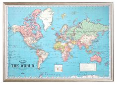 Lámina Mapa Mundial Celeste | The Wall Republic World Map Printable, Wall Maps, Shabby Vintage, Vintage World Maps, Vintage Style, Map Posters, Retro Posters, Map Wrapping Paper, Wrapping Gifts