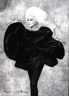 Carmen Dell'Orefice photographed by Ruven Afanador wearing Isabel Toledo for June 2009 Harper's Bazaar Nordstrom ad. Typography by Ruben Toledo.