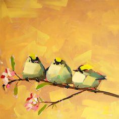 Three Kinglets original bird oil painting by Angela Moulton prattcreekart
