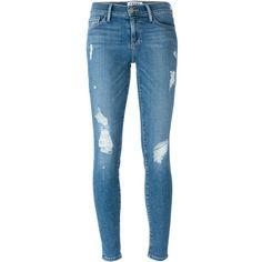 Frame Denim Le Skinny De Jeanne Jeans ($364) ❤ liked on Polyvore featuring jeans, pants, bottoms, pantalon, trousers, blue, blue jeans, blue skinny jeans, super skinny jeans and skinny leg jeans