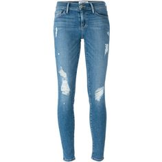 Frame Denim Le Skinny De Jeanne Jeans ($364) ❤ liked on Polyvore featuring jeans, pants, bottoms, pantalon, trousers, blue, blue jeans, blue skinny jeans, super skinny jeans and skinny leg jeans