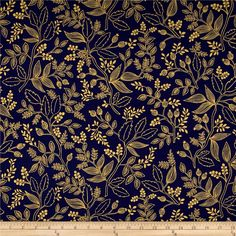 Cotton   Steel Rifle Paper Co. Les Fleurs Metallic Queen Anne Navy from @fabricdotcom  Designed by Rifle Paper Co. for Cotton   Steel, this whimsical cotton print fabric is perfect for quilting, apparel and home decor accents. Colors include navy blue with gold metallic leaves.