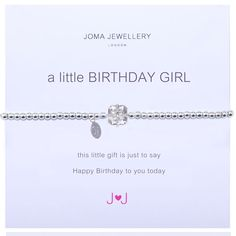 Joma jewellery a little birthday girl silver bracelet from Lizzielane.com only £12.99 http://www.lizzielane.com/product/joma-jewellery-little-birthday-girl-silver-bracelet/