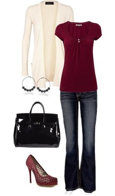 Like the relaxed style of the shirt paired with. The simple cardigan