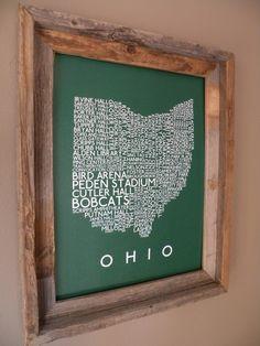 Exploring OU campus on the list.  Ohio University Word Map. $22.00, via Etsy.