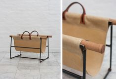 bddw-firewood-holder-remodelista he BDDW Firewood Holder is made of steel and canvas, and comes with a bundle of scrap wood from the furniture company's studio; contact BDDW for more information and pricing. Firewood Rack, Firewood Storage, Firewood Holder Indoor, Leather Furniture, Cat Furniture, Furniture Design, Log Carrier, Leather Workshop, Fireplace Accessories