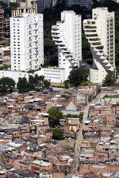 Roof & Penthouse Buildings, right by the slum in Paraisópolis, São Paulo, Brazil