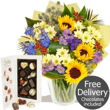 Colouromatherapy & Chocolates Fresh lively flowers with glorious Sunflowers Sunflower Bouquets, Gifts Delivered, Flowers Delivered, Sunflowers, Chocolates, Free Delivery, Floral Wreath, Fresh, Handmade