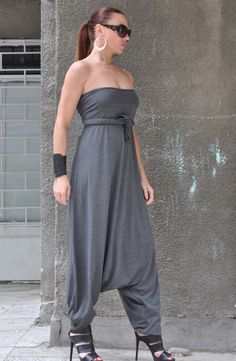 New Colection Grey Jumpsuit / Extravagant Loose Jumpsuit both long sleeves and sleeveless / Oversize Drop Crotch Harem Pants by EUGfashion