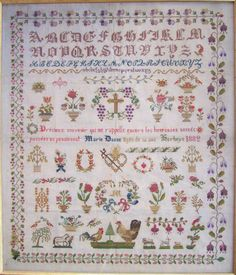 Stunning Marie Danne 1882 french cross stitch sampler by Reflets de Soie, now available as a chart pack from Riverdrift House.