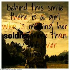 Behind this smile there's a girl who is missing her soldier, more than you'll ever know.. #militarylove #deployment #armylove
