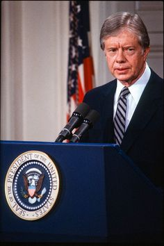 Portrait of President Jimmy Carter standing at a podium during a White House press conference, Washington, DC, March (Photo by Chuck Fishman/Getty Images) Famous Presidents, Jimmy Carter, Sully, Washington Dc, Famous People, Conference, March, United States, Celebrity