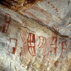 Paintings from El Castillo cave, and examples of the world's oldest cave art. One of my favourite rock art panel in the entire world. What is the meaning of these structures? Fresco, Art Pariétal, Paleolithic Art, Cave Drawings, Mural Painting, Cave Painting, Rock Painting, Paintings, Primitive Painting