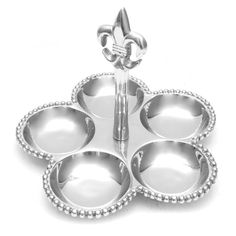 Fleur-de-Lis 5 Section Dish - Perfect for a condiment or serving tray.  Pewter 5 section tray features a fleur de lis and beaded rim. frenchquartermarket.com