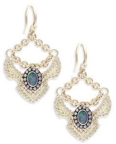 Armenta Old World Aquaprase Slice Earrings with Diamonds