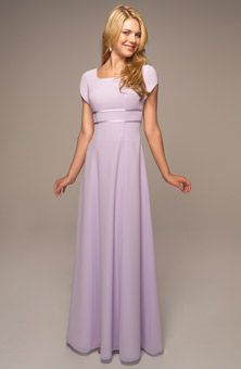 Brides: Venus Bridal :  91D930  Chiffon square neckline w/ cap sleeves features double ribbon bands at empire waist, A-line skirt. Also available in Gold, Chocolate, Ice Pink, Cerise, Really Red, Lilac, Lavender, Aubergine, Ice Blue, Cornflower, Periwinkle, Midnight Blue, Platinum, Black, Cobalt, Hot Turq, Cashmere, Eggplant, Burgundy, Watermelon, Ice Yellow.
