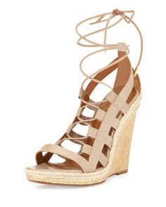 Amazon Leather Lace-Up Wedge Sandal by Aquazzura at Bergdorf Goodman.