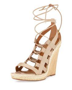 Amazon Leather Lace-Up Wedge Sandal by Aquazzura at Bergdorf Goodman.