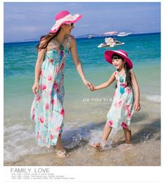 2015 New Mother Daughter Dresses Summer Family Matching Outfits Fashion…