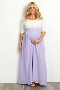 Lavender Chiffon Colorblock Plus Size Maternity Maxi Dress