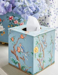 A box of tissues is always close at hand, whether to see you through a winter cold, mop-up messy little ones or catch tears of joy, so why not hide unsightly branded boxes with our beautiful hand-painted Millicent Tissue Box Cover.