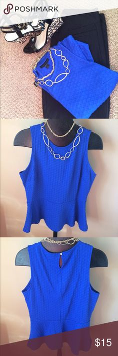 Liz Claiborne Blue Peplum Top Perfect top to take you from work to a night in the town! Liz Claiborne Tops Blouses