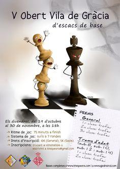 Cartell per al V Obert Vila de Gràcia d'escacs de base -- Cartel para el V Abierto de ajedrez base Vila de Gracia -- Poster for the V Youth chess tournament Vila de Gracia