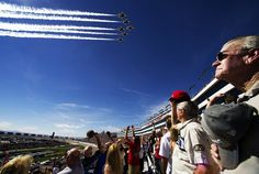 hunderbird Fly-by  The U.S. Air Force Thunderbirds fly-by the Las Vegas Motor Speedway at the start of a NASCAR race in March 2014. Image: U.S. Air Force / Staff Sgt. Larry E. Reid Jr. (Flickr)