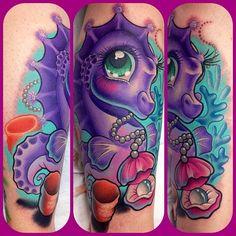 Cute Seahorse tattoo by Leah Moule
