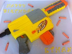 This is a Nerf gun cake