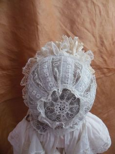 Antique lace bonnet for french doll small size from all-about-dolls on Ruby Lane