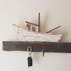 Rustic Reclaimed Wood Boat Key Hook - nautical wall hanging, wall decor, nautical, beach