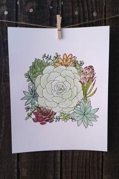 Pretty Succulent Bouquet Watercolor Print https://www.etsy.com/listing/230979622/succulent-bouquet-art-watercolor