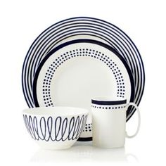 kate spade new york Charlotte Street East Place Setting - Navy East White Dish Set, Hanging Wire Basket, Navy Kitchen, Small Kitchen Organization, Place Settings, Table Settings, Navy And White, Charlotte, Kate Spade
