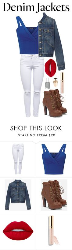 """Blue"" by shelbs1234 ❤ liked on Polyvore featuring Miss Selfridge, Yves Saint Laurent, JustFab, Lime Crime, Beautycounter and Prada"
