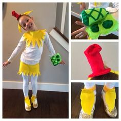 """To celebrate Dr. Seuss's Birthday, my daughters school had a favorite character costume day. We picked Sam I am from """"Green Eggs and Ham"""". I put this off a bit long but fortunately my scrap b... Dr Seuss Diy Costumes, Seussical Costumes, Dr Seuss Week, Dr Suess, Easy Halloween Costumes Kids, Halloween 2015, Dr Seuss Crafts, Green Eggs And Ham, Character Costumes"""