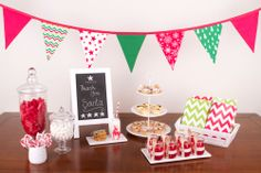 Gorgeous Fabric Christmas Bunting, Apothecary Lolly Jars, Freestanding Chalkboard, Milk & Cookies for Santa, 3 Tier White Stand, Jelly Cups, Wooden Tea Spoons, Chevron Lolly Bags