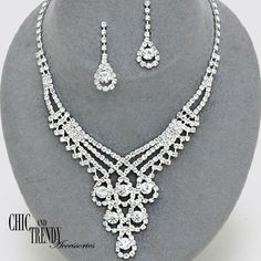 PRINCESS CLEAR CRYSTAL PROM WEDDING FORMAL NECKLACE JEWELRY SET CHIC & TRENDY  #Unbranded