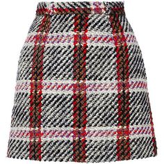 Carven     Checked Mini Skirt (635 BRL) ❤ liked on Polyvore featuring skirts, mini skirts, bottoms, saias, faldas, plaid, tartan plaid skirt, short tartan skirt, tartan mini skirt and plaid mini skirt