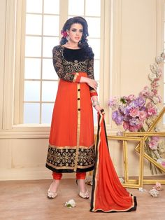 b69234544e Shopclues offers Sareemall Orange Embroidered Dress Material Suit with  Matching Dupatta at best prices. EMI options are also available for  Sareemall Orange ...