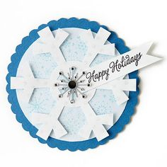 Craft a Snowflake Gift Tag—Use a die-cutting device to create snowflake embellishments in multiples. Change the colors to suit, for a perfect tag on any holiday gift.