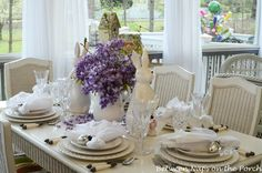 Table Decorations : Proper Table Setting With Purple Flower Luxury Display For Proper Table Setting Table Setting Ideas. How To Set A Table Properly. Proper Way To Set A Table. Elegant Table Settings, Easter Table Settings, Beautiful Table Settings, Setting Table, Pottery Barn Table, Spring Home Decor, Table Arrangements, Decoration Table, Dinner Table