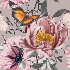"Patternbank en Instagram: ""NEW ARRIVAL Pink and Grey Floral by Theraphosath now available on our @patternbank online textile studio! Link in bio! Shop the design now!…"" Butterfly Watercolor, Watercolour Painting, Summer Garden, Spring Summer, Large Flowers, Ethereal, Print Patterns, Bloom, Studio"