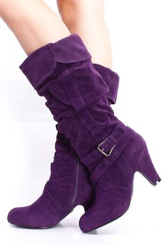 PURPLE FAUX SUEDE LOW HEEL CALF LENGTH BOOTS