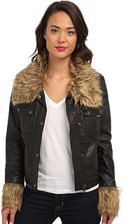 Members Only Pleather Jacket with Faux Fur on shopstyle.com