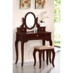 Poundex Furniture - Dark Charry Vanity With Stool - F4061  SPECIAL PRICE: $399.00