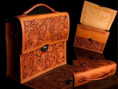 LMA Briefcase by Clair Kehrberg ~ Fine Leather Art.  Hand tooled leather briefcase customized to the customers needs.    www.kehrbergleatherart.com