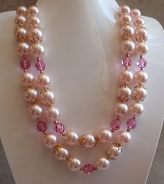 Lisner Double Strand Pink Pearl Crystal Necklace by cutterstone, $32.00