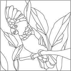 Stained Glass Pattern Cardinal and Dogwood by
